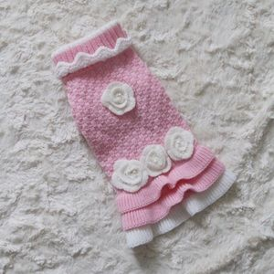NEW Pink and White Rose Pearl Knitted Pet Sweater